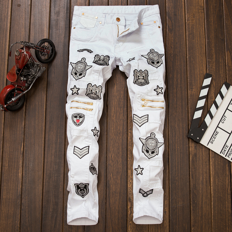 ФОТО Hot Sale White Jeans Men High Quality Biker Jeans 2016 New Designer Fashion Denim Overalls Brand Clothing Slim Fit Casual Pants