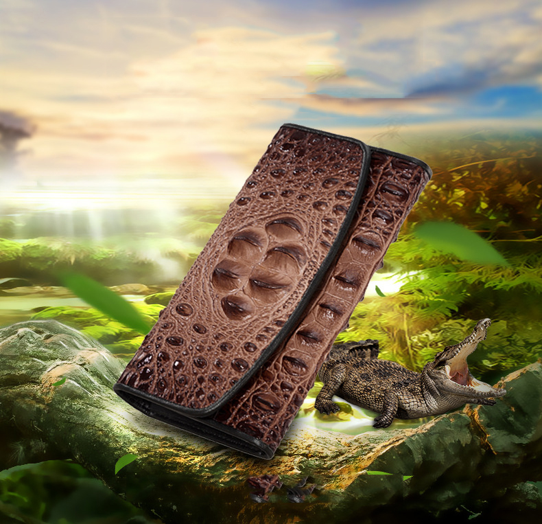 crocodilo padrão longo couro das senhoras embreagem
