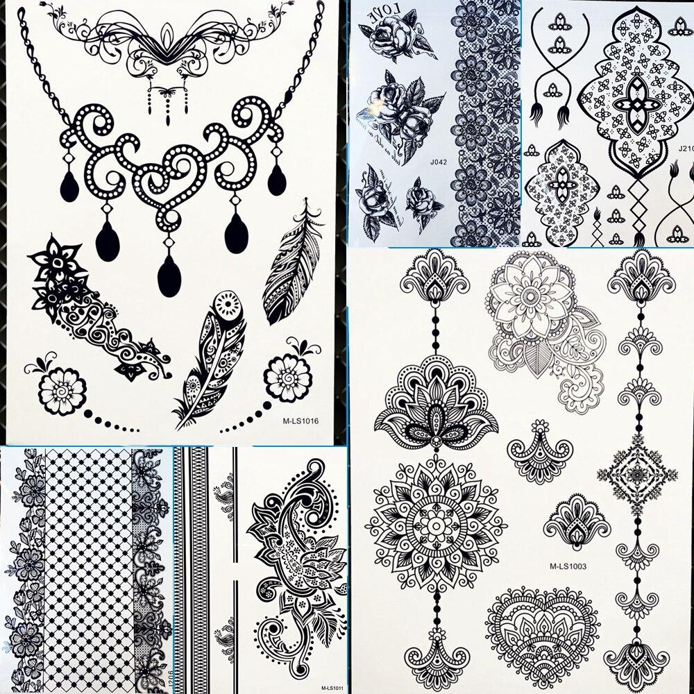 Women Makeup Necklace Neck Design Feather Waterproof Temporary