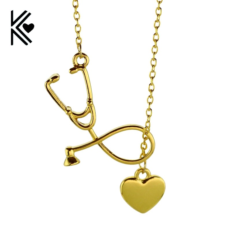 4 Colors Stethoscope Lariat Necklace Heart and Stethoscope Pendant for Doctor Medical Student Gift the Doctor Nurse Jewelry