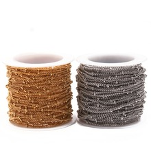 10Yard/Roll 2mm 3mm Ball Gold Color Stainless Steel Metal Twisted Cuban Curb Chain for Necklaces Bracelets Foot Jewelry Making