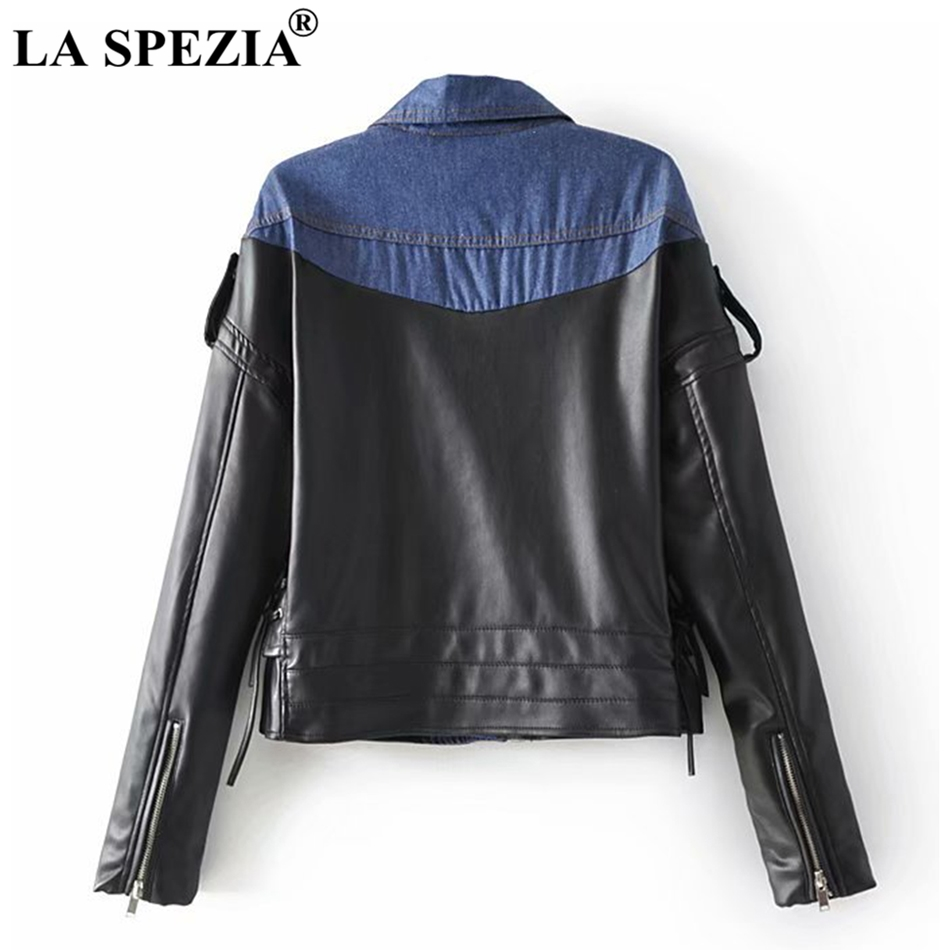 LA SPEZIA Patchwork Jacket Women Denim PU Leather Coat Female With Belt Fashion High Quality Ladies Zipper Motorcycle Outerwear