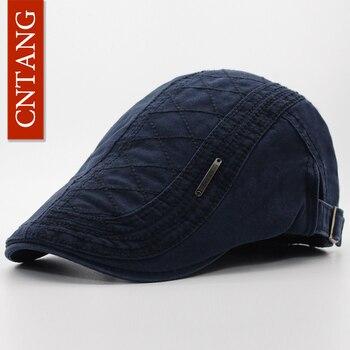 CNTANG primavera otoño boina de algodón Casual visera gorra para hombres  moda Vintage botón plana gorras hombres boinas planas ajustables 1b72382ad7b