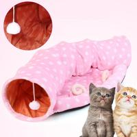 Pet Cat Dog 2 Holes Tunnel Funny Plaything Collapsible Toys with Pet Bed Ball Puppy Cat Kitten Rabbit Play Foldable Tunnel Tubes