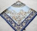 Moda Azul de Las Flores de Primavera Y El Otoño de Impresión Bufanda de Seda Pura de Las Mujeres Mano Roll-Cercado de Sarga de Seda Infinito Chal Cuadrado