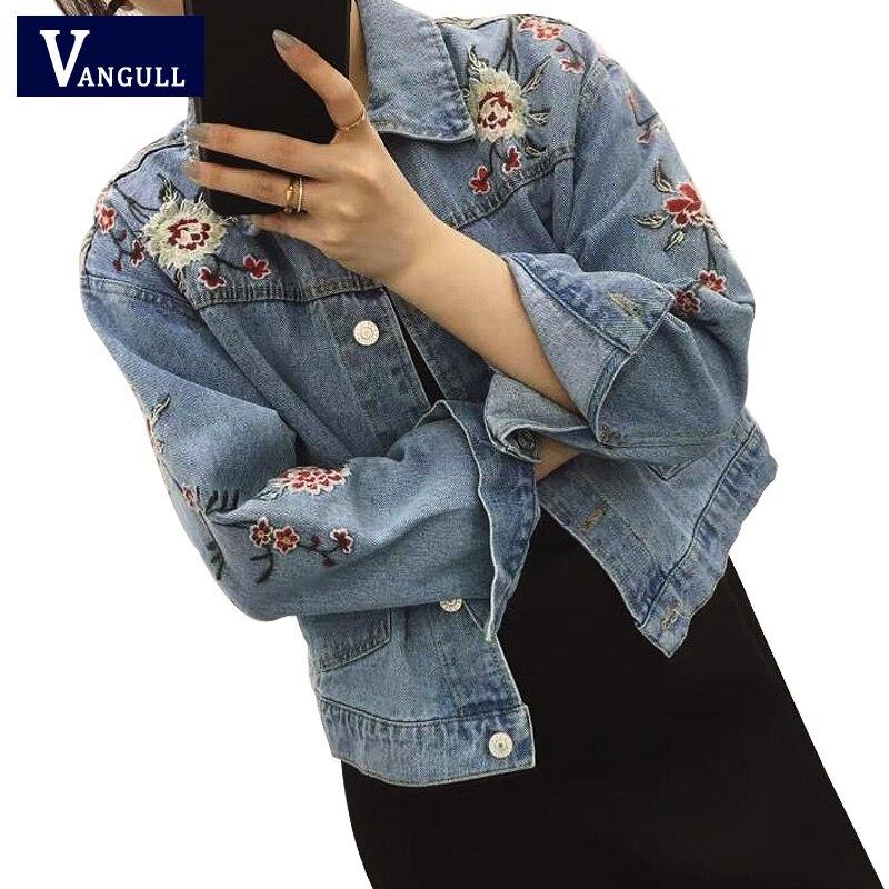 Embroidered Short Denim Jacket Women 2017 Spring Autumn Winter Ladies Long Sleeve Jacket Coat ...