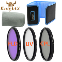 UV FLD CPL Lens Filter Set Bag Case Cleaning Cloth For Nikon Sony Canon DSLR T5i