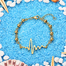 BAOYAN 316L Stainless Steel Jewelry Gold Color Beaded lightning Bead Bracelet for Women Gift N3