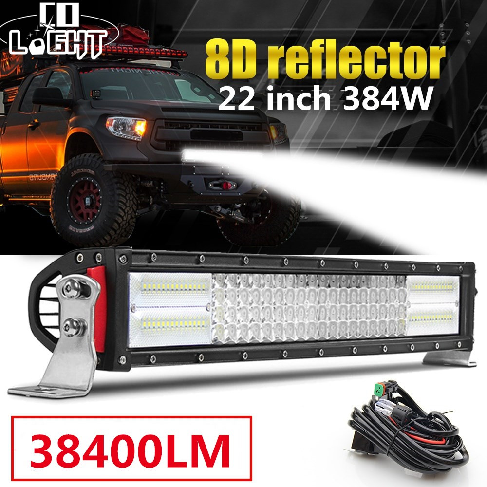 Curved 32inch LED Light Bar Tri Row 650W Combo Bumper for Jeep Pickup 4X4 ATV