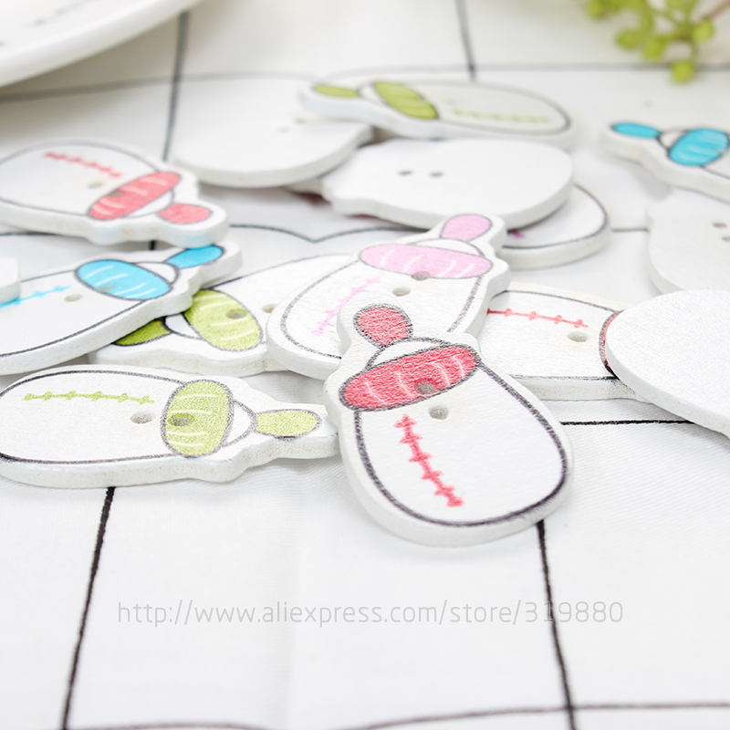 TIANXINYUE Baby bottle Wood Button Sewing Scrapbooking Two Holes Wood Buttons,DIY Clothing Accessories