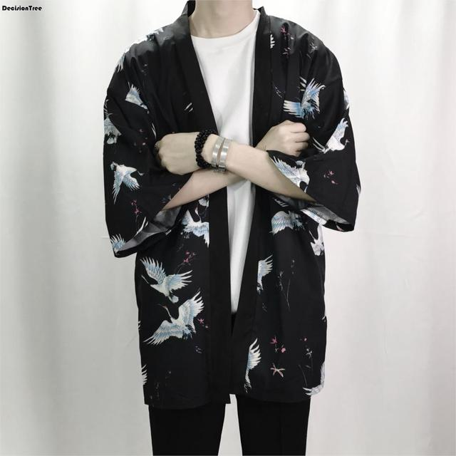 2019 summer Retro Printing Men Kimono Cardigan Shirt Harajuku Street Thin Coat Outerwear Casual Loose Short Sleeve Shirt Jacket