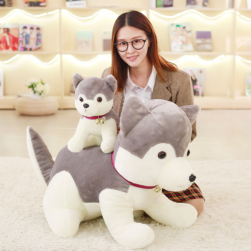 big new lovely Husky toy plush gray husky dog doll gift about 65cm the huge lovely hippo toy plush doll cartoon hippo doll gift toy about 160cm pink