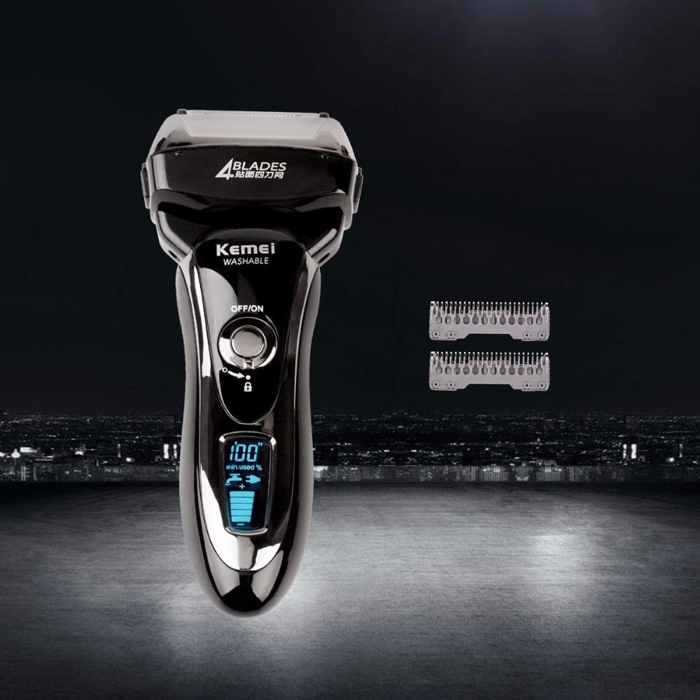 LCD professionnel lavable rasoir quatre lames rasoir électrique rasage mâle visage barbe coupe de cheveux haute vitesse Maglev KM-5568 + lame supplémentaire