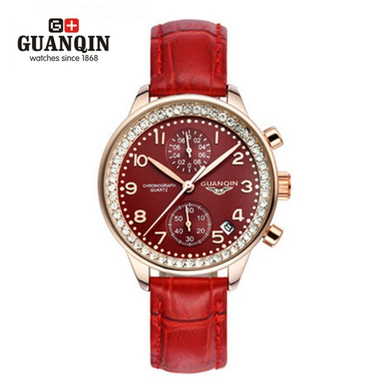 ФОТО Fashion Women's Watch Original Brand GUANQIN Quartz Ladies Watches Waterproof Leather Dress Diamond Watches Women Montre Femme