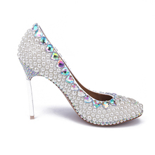 Women's Platform Shoes Rhinestone Thin Heels Bridal Shoes Silver Stiletto Heel White Pearl Wedding Shoes Comfortable Party Shoes