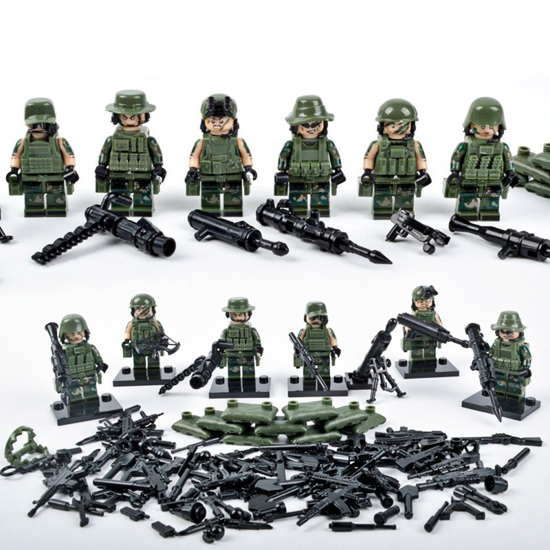 compatible LegoINGlys Military Armed Troops Cross Fire Jungle Commandos Camouflage Soldiers Team And Weapon Blocks Toys Gift