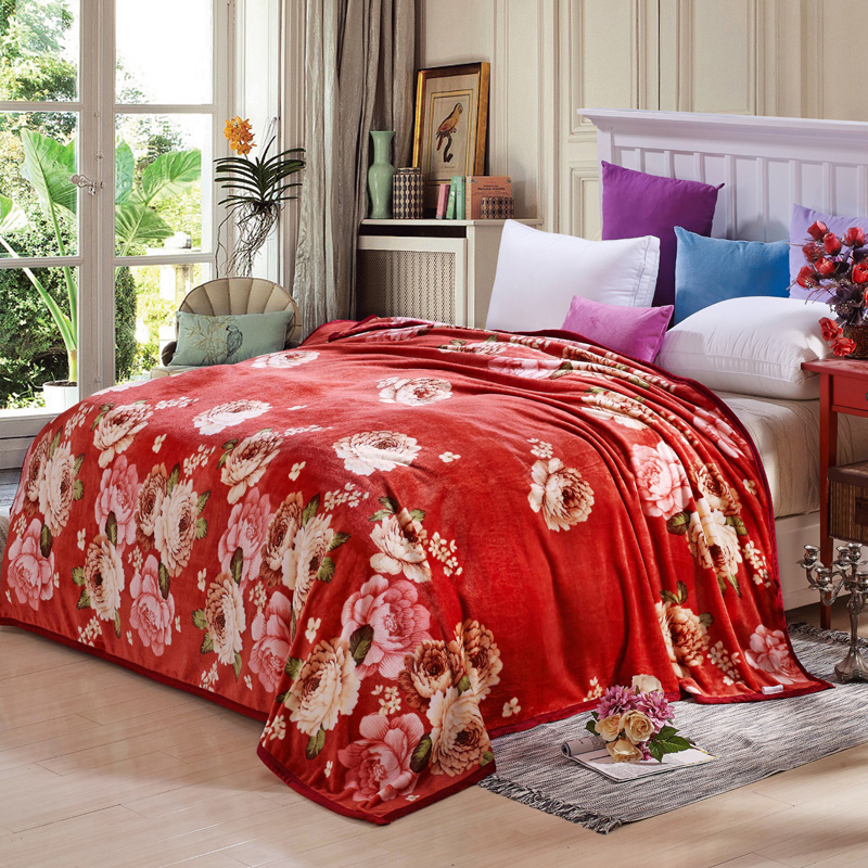 colorful flowers print blanket soft fleece bedsheet sofabedding throws twin full double queen king