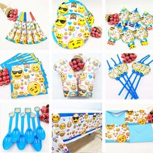 Disney ! Emoji Expressio Kids Birthday Party Decoration Set Party Supplies napkin Cup Plate Banner Hat Straw Loot Bag Fork disney mickey mouse kids birthday party decoration set party supplies cup plate banner hat straw loot bag fork