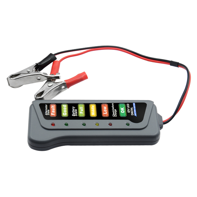6 LED Lights Display 12V Digital Battery Alternator Tester  Auto Car Diagnostic Tool for Cars Vehicle Motorcycle New