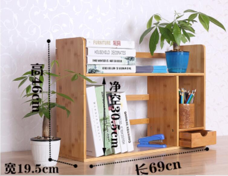 Us 65 01 7 Off 69 46 19 5cm Double Layer Bamboo Bookcase Desktop Bookshelf Book Storage Rack With Drawer In Bookcases From Furniture On