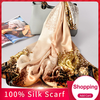 Ladies 2019 Luxury Brand Scarf Silk Wrap 100% Hangzhou Pure Silk Print Shawls and Wraps for Women New Natural Real Silk Scarves