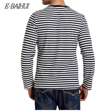 E-BAIHUI brand  Autumn Casual Striped T Shirt Men  Long Sleeve Men's T ShirtS  Slim Fit Mens Clothes Trend  Tops Tees CT067