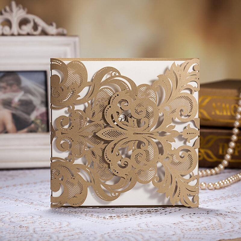 50pcs/pack Free Envelop and Seals Champange Gold Laser-Cut Lace Flower Pattern Customizable Wedding Invitations Cards
