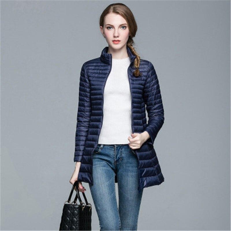 OLGITUM Winter Coat Portable Fashion Parkas Woman Coat White Duck Down Ultra Light Slim Solid Jackets  Long Jacket Female DP022