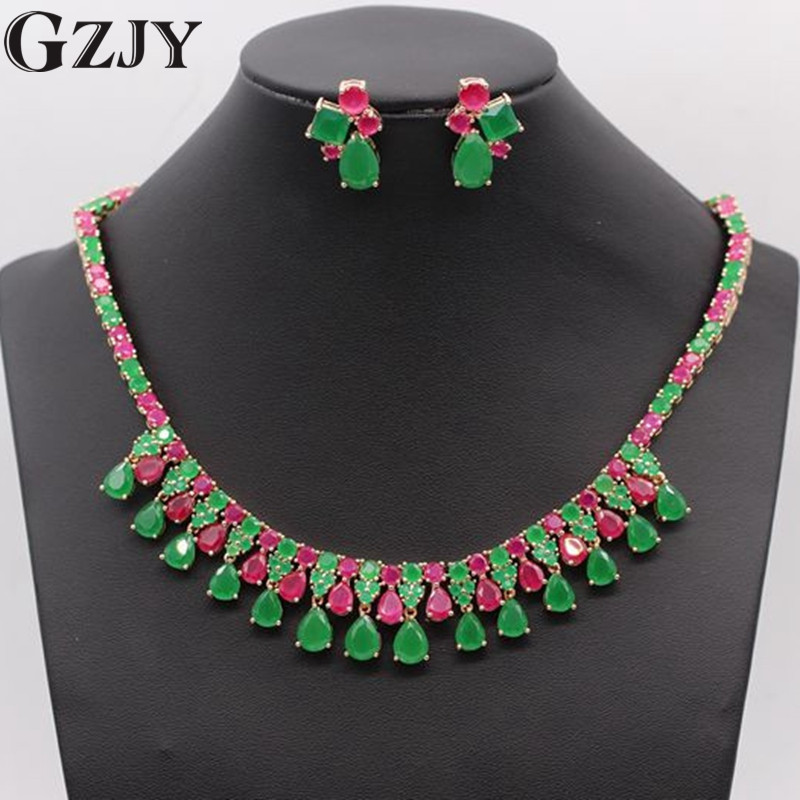 GZJY Gorgeous Bride Jewelry Red Green Zircon Gold Color Necklace Earrings Jewelry Set For Women Wedding Gift orange morganite stylish jewelry set for women white zircon gold color rings earrings necklace pendant bracelets
