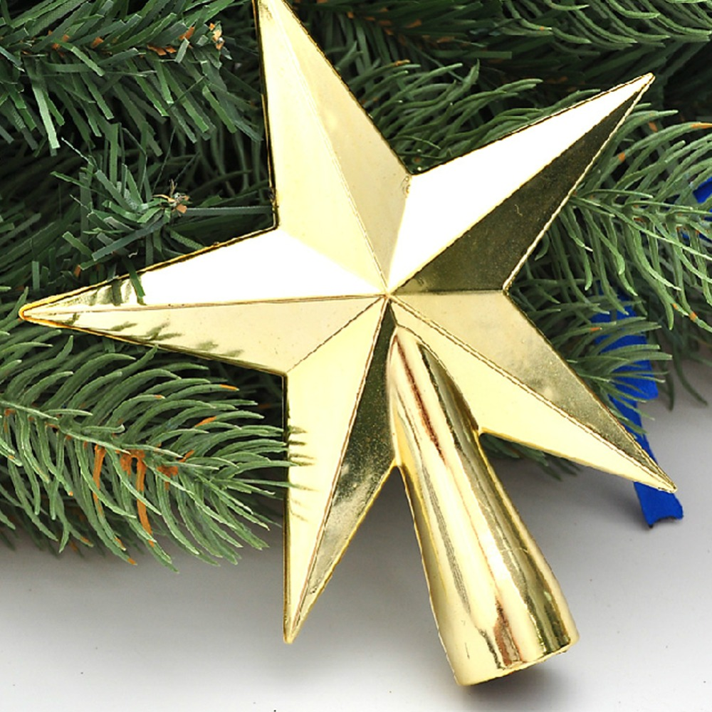 Gold star ornaments - 12cm Gold Top Stars Christmas Tree Decoration Xmas Party Hanging Ornament Decor China Mainland