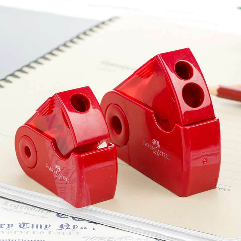 FABER CASTELL Push Pull Double Pencil Sharpener Single Hole Double Hole Multifunctional School & Office Stationery
