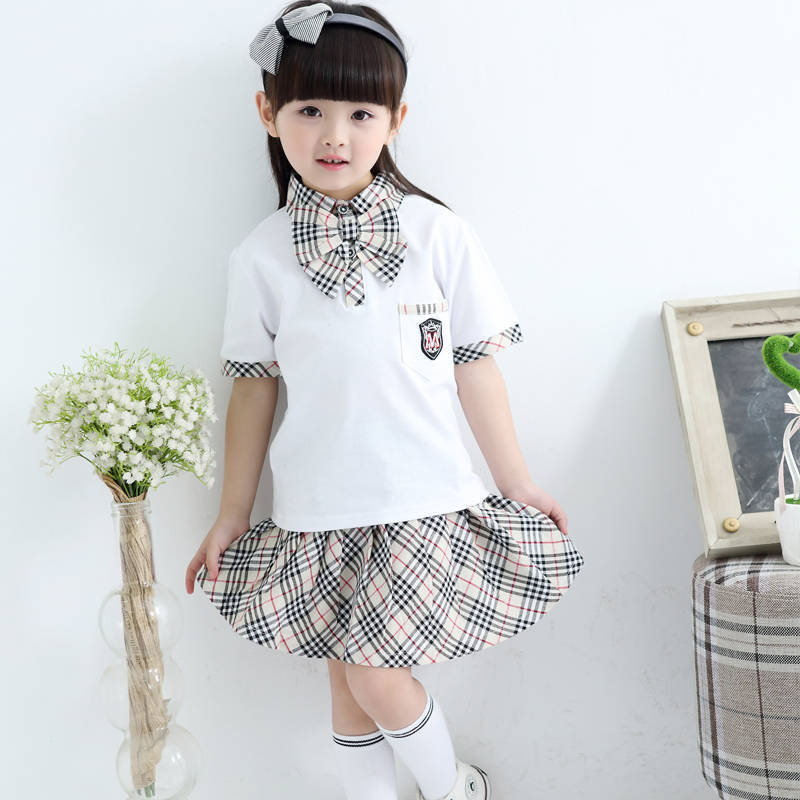 Korean style cute style fancy students uniform ties shirts skirts set with bowtie 2pcs primary school uniform for girls teens mental sand sandbox game with sandplay psychological product playful elementary school students 9pcs set