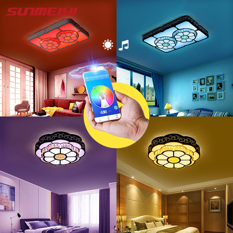 Modern Music Ceiling Lights APP Control For Living room Bedroom Children bluetooth Speaker Lighting RGB Dimmable Led Lamp in Ceiling Lights from Lights Lighting