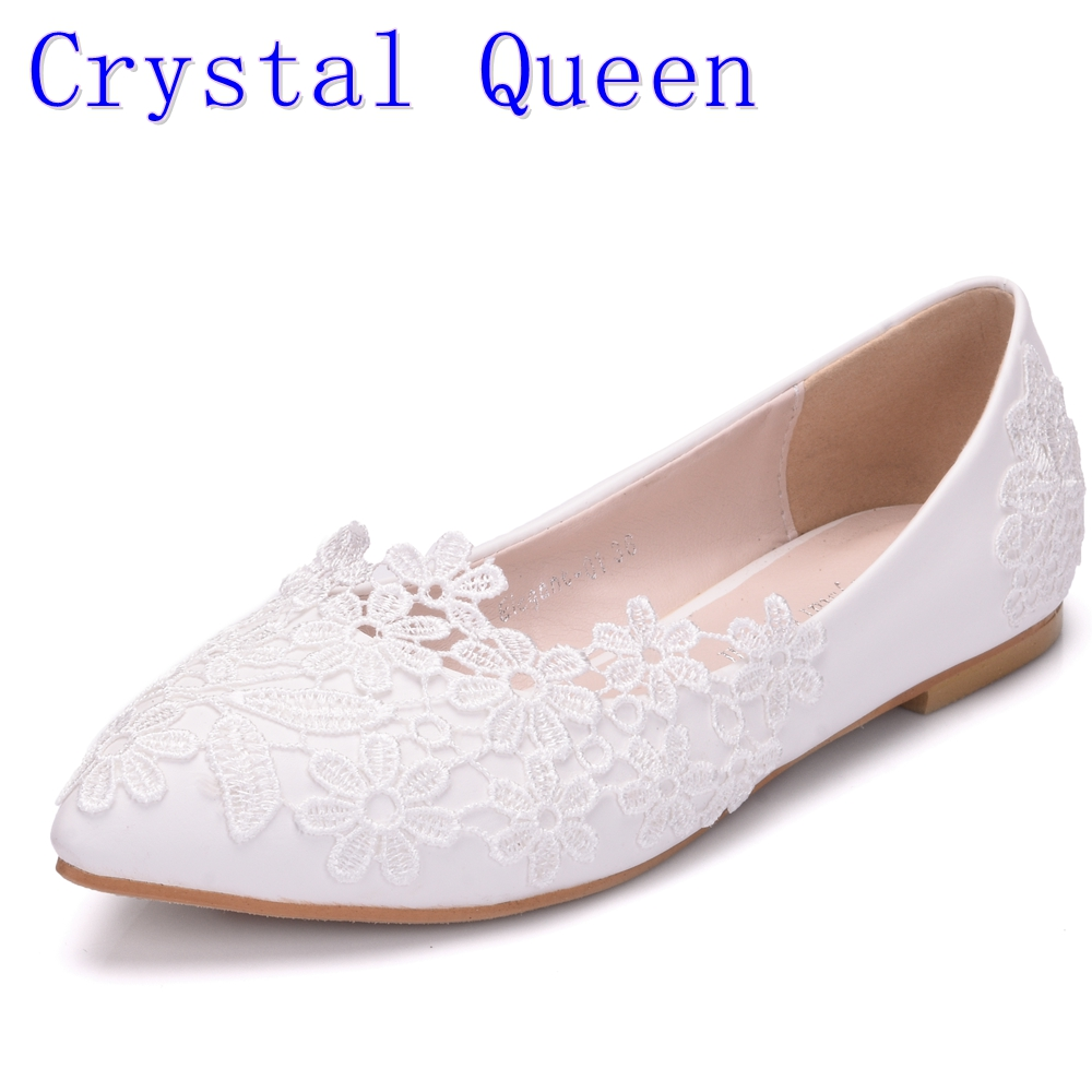 Crystal Queen Ballet Flats White Lace Wedding Shoes Flat Heel Casual Shoes Pointed Toe Women Wedding Princess Flats Plus Size 42 meotina women flat shoes ankle strap flats pointed toe ballet shoes two piece ladies flats beading causal shoes beige size 34 43