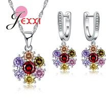 JEXXI Luxurious Flower With Shiny CZ Crystal  925 Sterling Silver Jewelry Set With Necklace &  Earrings Wholesale Price