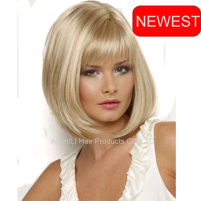 Medium Long Straight Highlight Blonde Hair Bob Wigs Kylie Jenner