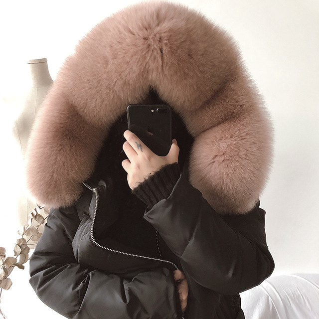 da26db4a0 US $275.08 |Real Fox Fur Women Jacket with Hooded Down Winter Warmer Cloak  Coat Womens Puffer Cape Long Duck Woman Girl Coats and Jackets-in Wool & ...