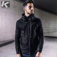 KUEGOU новые осенние мужские Повседневное кофты 100% хлопок молния черный Цвет брендовая одежда человек тонкий мужской одежда пальто кардиган