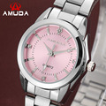 AMUDA Luxury Brand Quartz Women Watch Pink Ladies Wrist Watches Quartz-watch Relogio Feminino Female Dress Rhinestone Watch