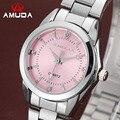 Amuda marca de luxo mulheres relógio de quartzo rosa relógios de pulso das senhoras vestido de strass relógio de quartzo-relógio feminino relogio feminino