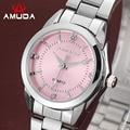 Amuda pink ladies relojes de marca de lujo de cuarzo reloj de las mujeres vestido de reloj de cuarzo relogio feminino mujer reloj de diamantes de imitación