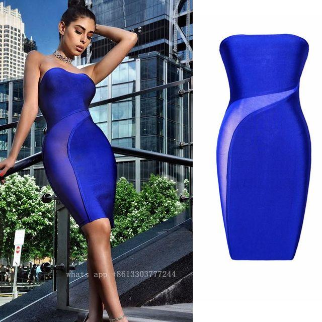 f540241257e babatique 2017 royal blue black women strapless dress summer vestidos woman  gown brief sexy mesh see through vestido de festa