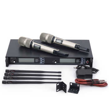 New arrival!! Top Quality SM 9000 4 Antenna for Stage !! Dual Golden Handheld Mic Professional Wireless Microphone System