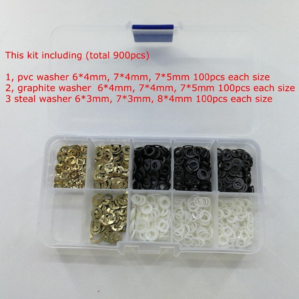 900 pcs/lot dans la Boîte Kit De Réparation De Ciseaux De Coiffure Ciseaux Accessoires En Plastique 7*5/7*4/6 * 4mm Rondelles Barber Salon Ciseaux Pièces