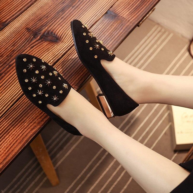 Mujer Confortable A Chaussures Plat Lady Bout Mignon Noir Pointu b Casual Brun Femmes Rivet Zapatos Cool c B3290 Cresfimix e d De ZSwxqTnE