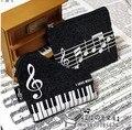Princesa saco lolita acessório Musical preto sacos de notas da música de piano equipe chaves zip saco de armazenamento bolsa de moedas de pelúcia música clef presente