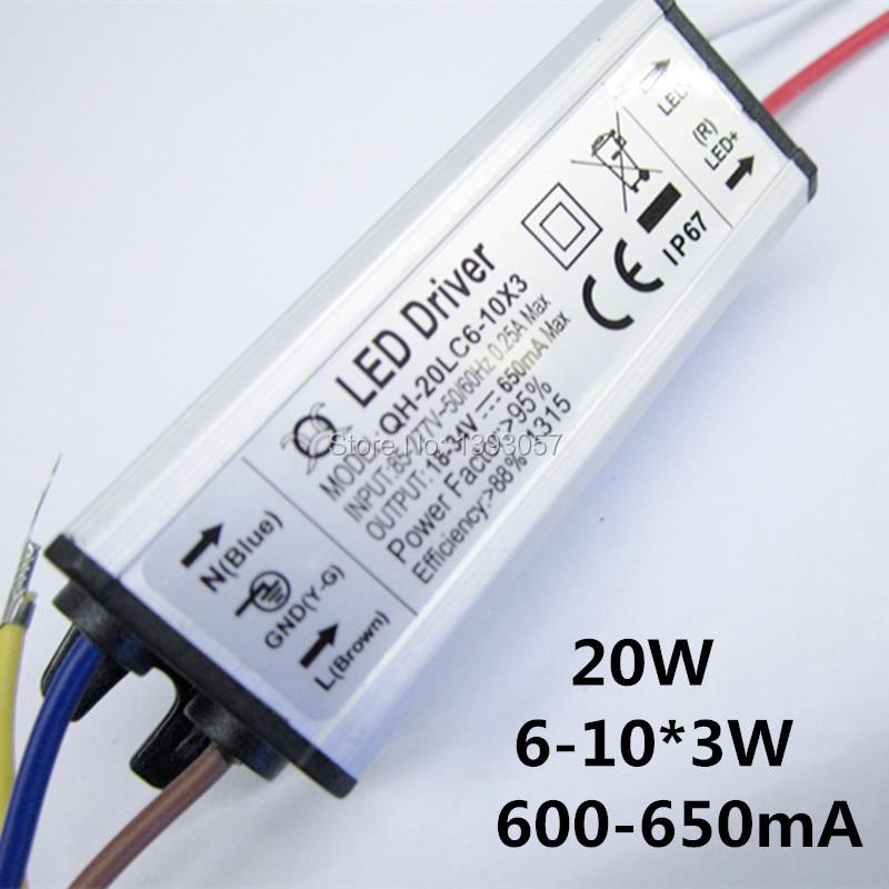 1ks / šarže 6-10x3w 20 W LED ovladač DC18-34v 650mA Napájení Vodotěsný IP67 Konstantní proudový ovladač pro FloodLight