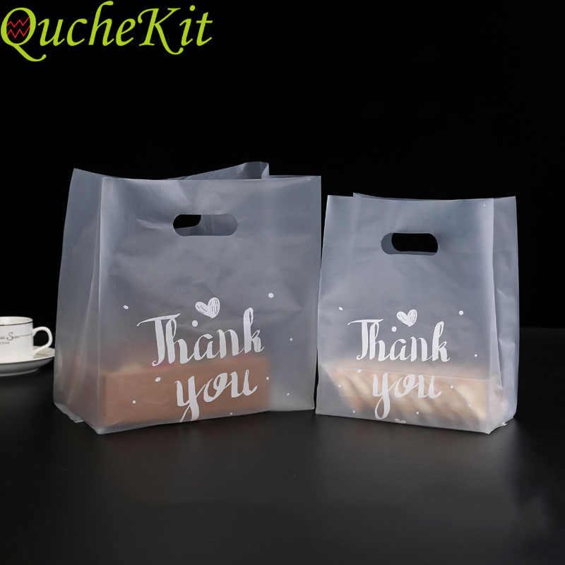 50 Pcs Terima Kasih Hadiah Plastik Tas Belanja Plastik Tas dengan Pegangan Natal Pesta Pernikahan Tas Permen Kue Pembungkus tas