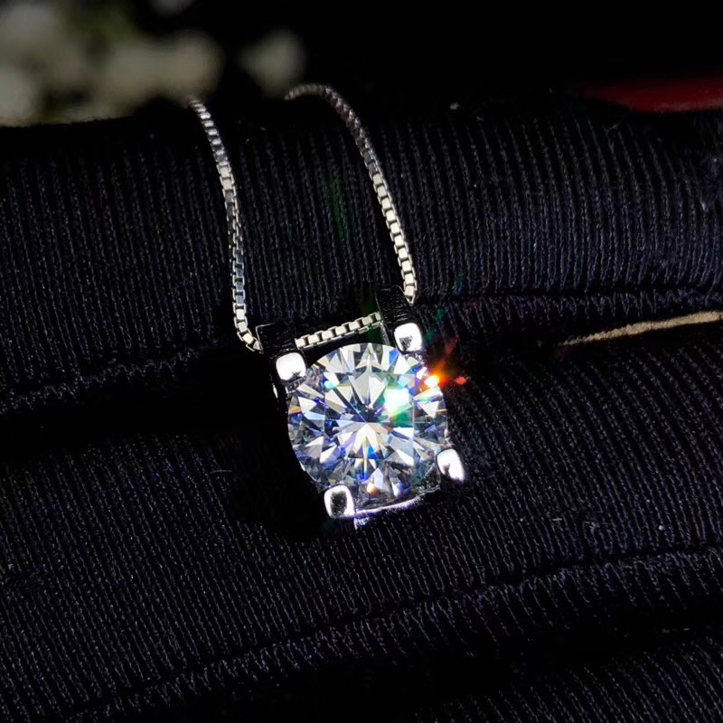 CoLife Jewelry Classic Moissanite Pendant 1.5ct Real F Color VVS1 Grade Moissanite Silver Pendant 925 Silver Gemstone Jewelry