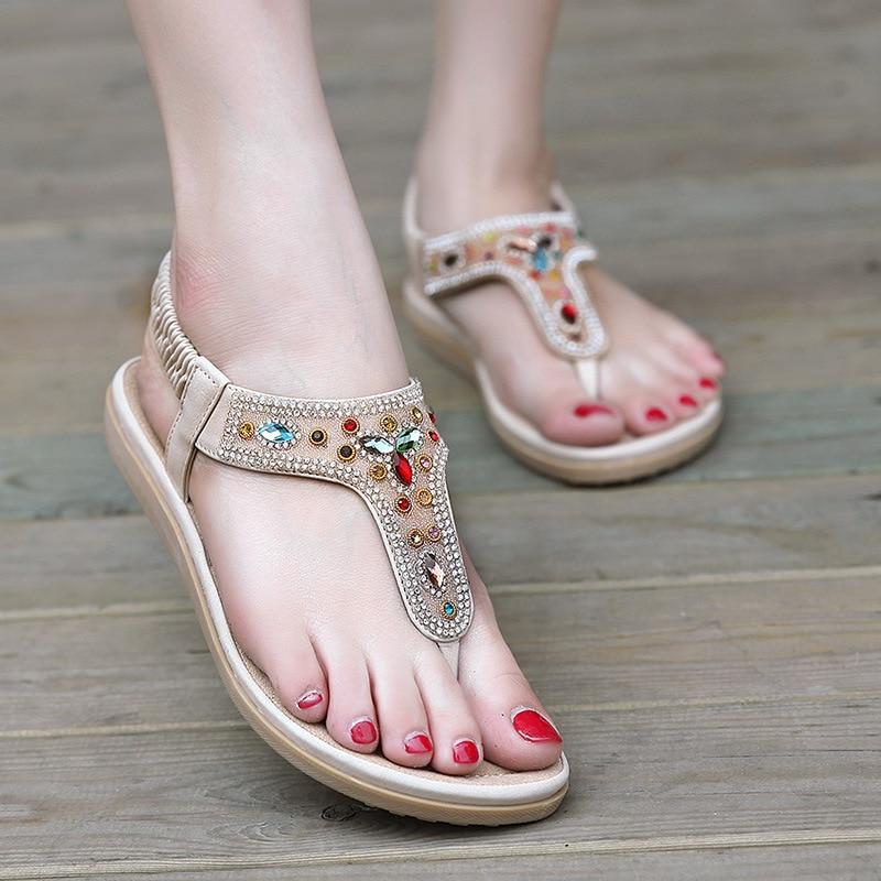 SIKETU Bohemia 1-3 CM Rhinestone Decorated Ankle Strap Lady Sandal Sexy Leisure Hot Summer Cool Shoe Women Soft Fashion Freeship